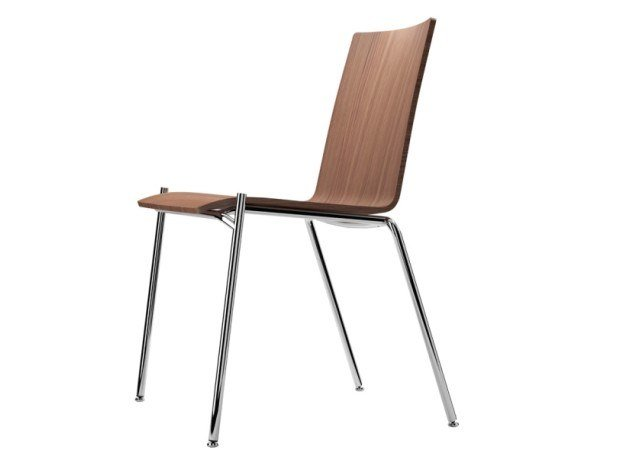 Stackable plywood chair S 162 by THONET