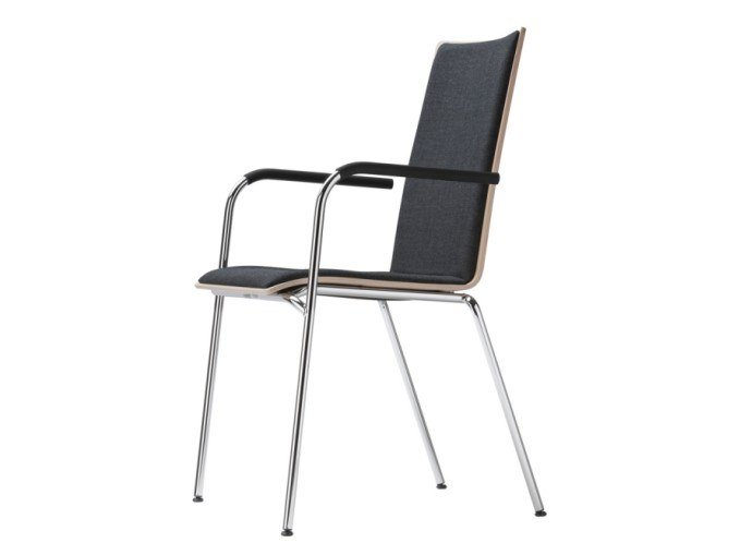 Upholstered stackable chair with armrests S 164 PF by THONET