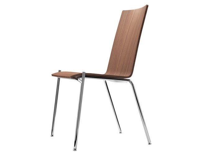 Stackable plywood chair S 164 by THONET
