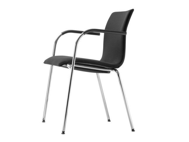 Upholstered stackable chair with armrests S 166 PVF by THONET