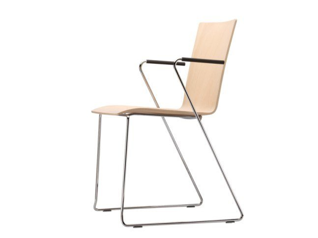 Sled base plywood chair with armrests S 182 FST by Thonet