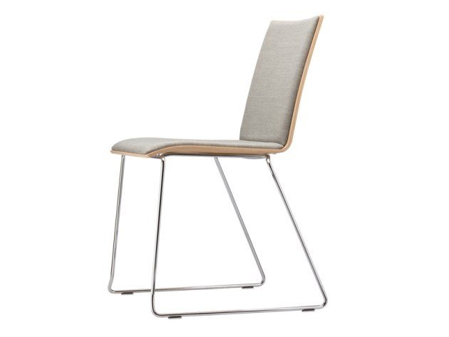 Sled base upholstered chair S 182 PST by THONET