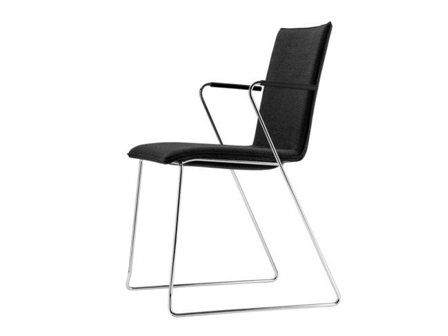 Sled base upholstered chair with armrests S 182 PVFST by THONET