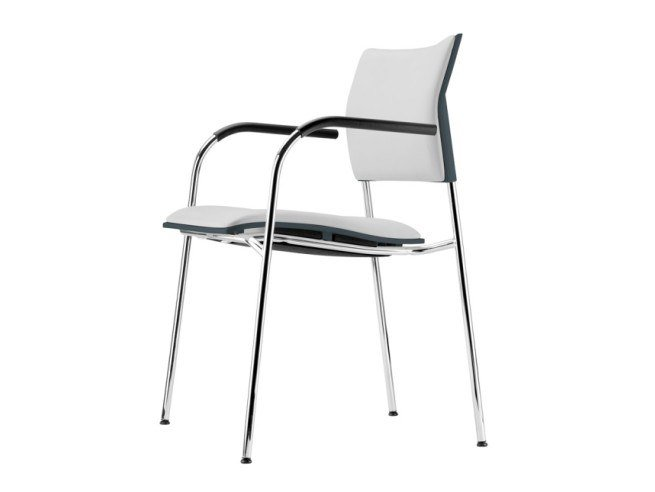 Upholstered stackable chair with armrests S 360 PFST by THONET
