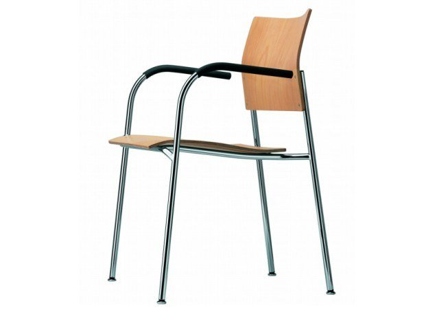 Stackable chair with armrests S 361 F by THONET
