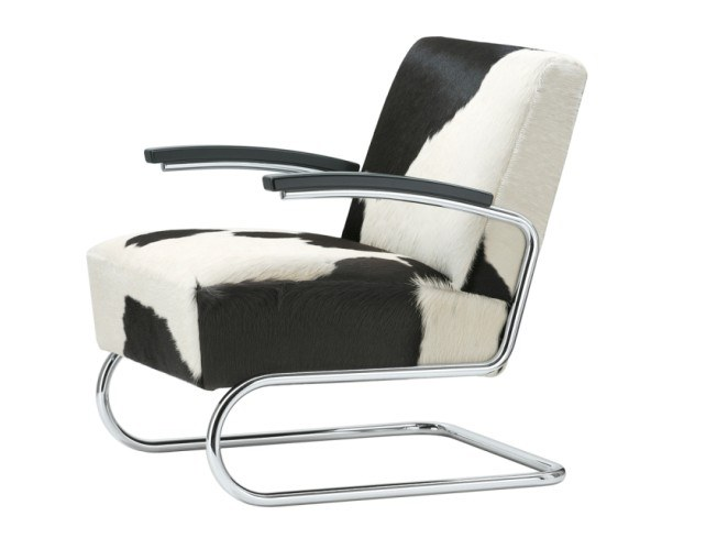 Cantilever cowhide armchair with armrests S 411 LV by THONET