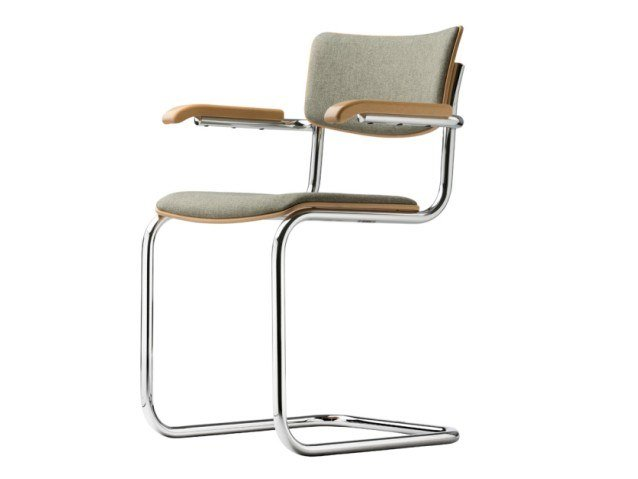 Cantilever upholstered chair with armrests S 43 PVF by THONET