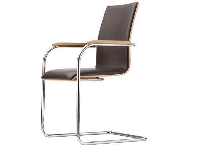 Cantilever upholstered chair with armrests S 54 PF by Thonet