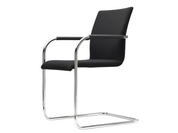 Cantilever upholstered chair with armrests S 55 PF EVO by Thonet