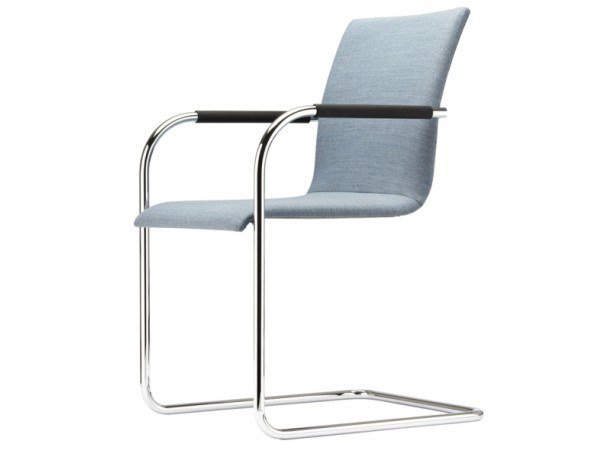 Cantilever upholstered chair with armrests S 55 PF by Thonet