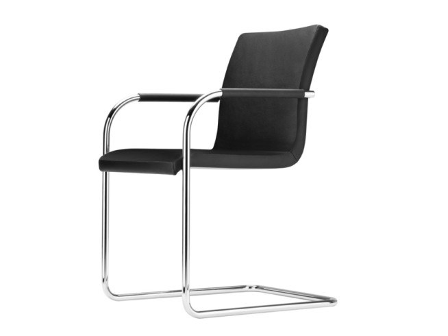 Cantilever upholstered chair with armrests S 55 PVF by THONET