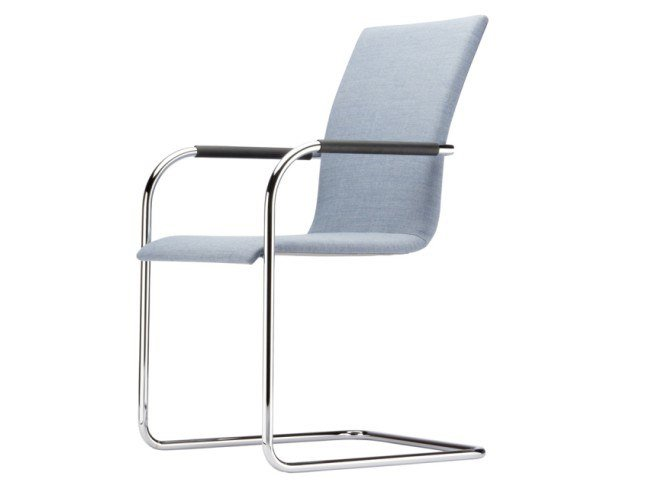 Cantilever upholstered chair with armrests S 56 PF by THONET