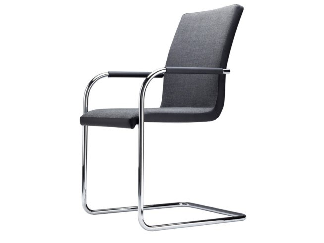 Cantilever upholstered chair with armrests S 56 PVF by THONET