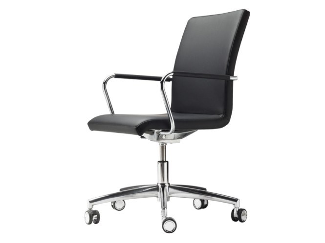 Swivel upholstered chair with casters S 56 PVFDRW by THONET