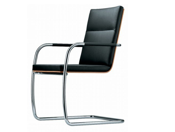 Cantilever upholstered chair with armrests S 61 by THONET
