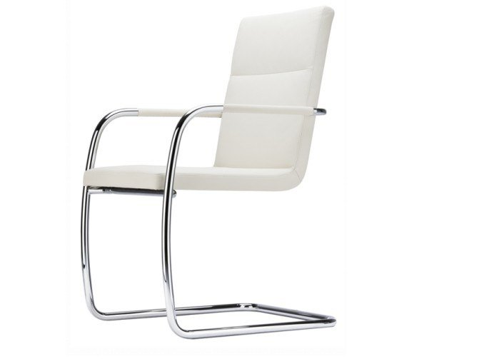 Cantilever upholstered chair with armrests S 61 V by THONET