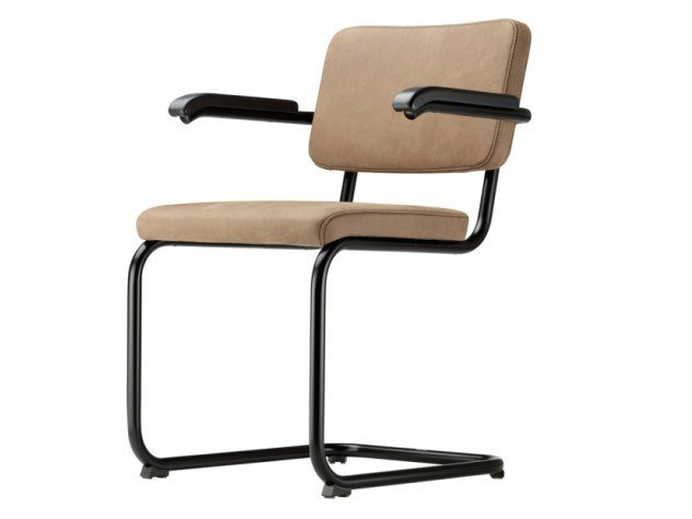 Cantilever upholstered chair with armrests S 64 PV by Thonet