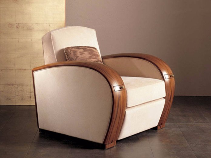 Upholstered fabric armchair with armrests S68 | Armchair by Rozzoni