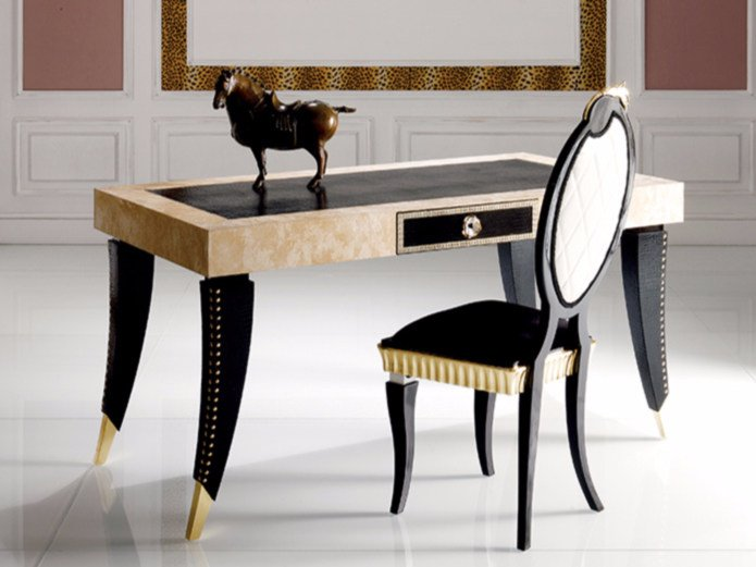 Rectangular leather writing desk S90 | Writing desk by Rozzoni