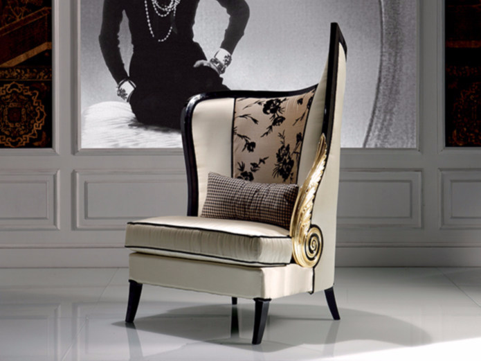 Upholstered high-back fabric armchair S922 | Armchair by Rozzoni