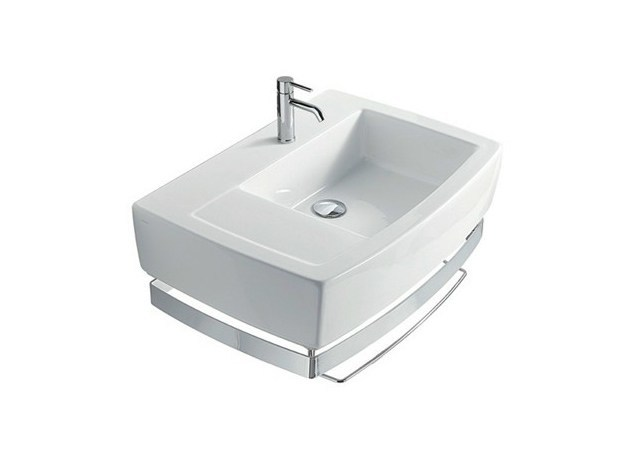 Rectangular ceramic washbasin with towel rail SA.02 70 SX | Washbasin by GALASSIA