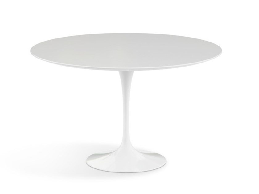 Round table with laminate top and aluminium base TULIP | Round table by KNOLL