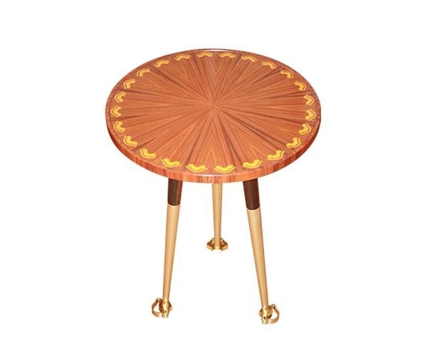 Round low wooden side table SAFFRON | Side table by Malabar