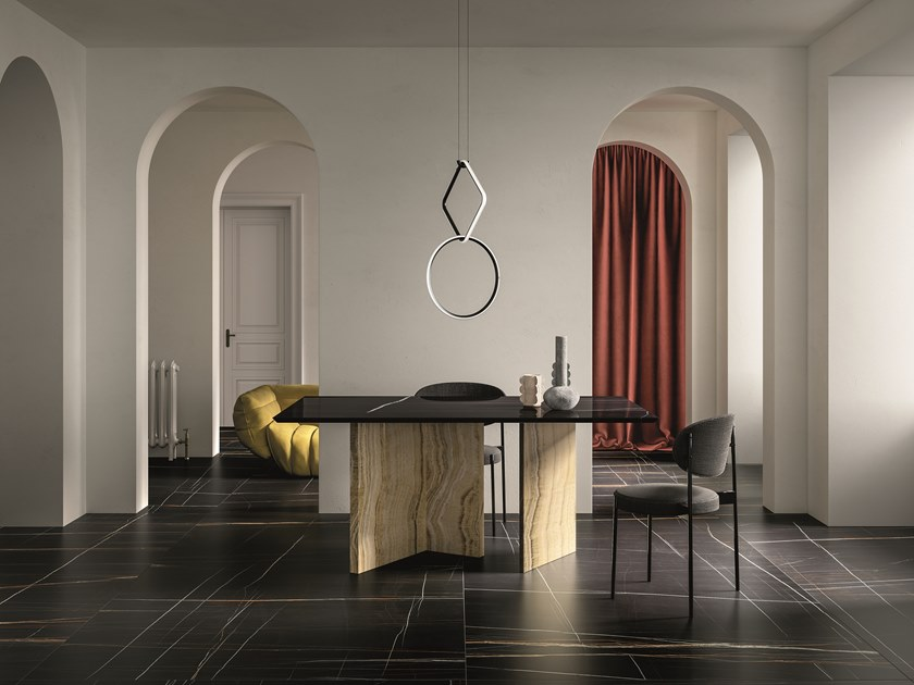 Porcelain stoneware wall/floor tiles with marble effect SAHARA NOIR by GranitiFiandre