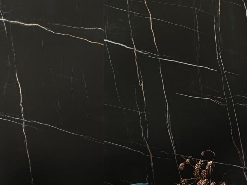 Pavimento/rivestimento in ceramica sinterizzata effetto marmo SAHARA NOIR by Arklam