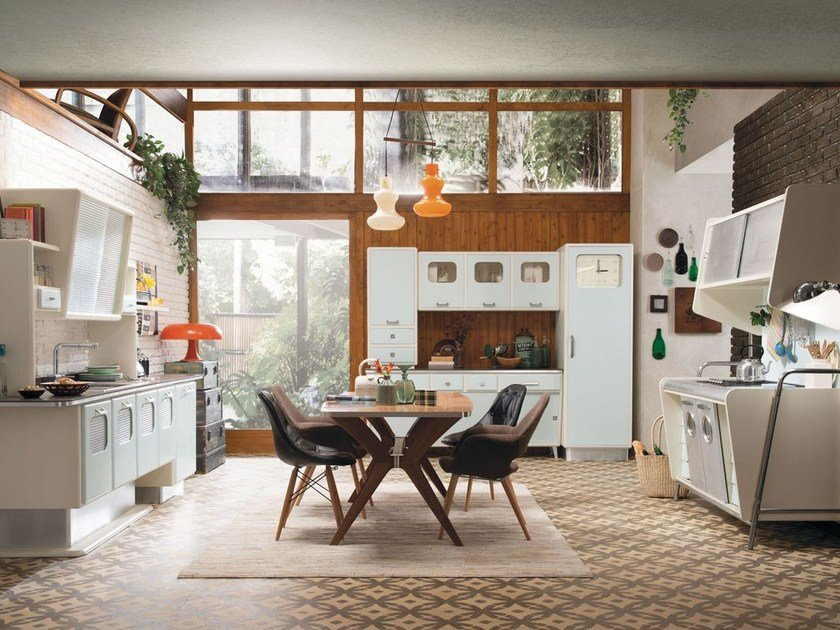 Fitted wood kitchen SAINT LOUIS - COMPOSITION 01 by Marchi Cucine