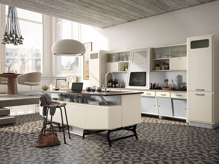 Fitted wood kitchen SAINT LOUIS - COMPOSITION 05 by Marchi Cucine
