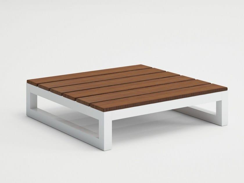 Sled base low teak garden side table SALER SOFT TEAK | Garden side table by GANDIA BLASCO