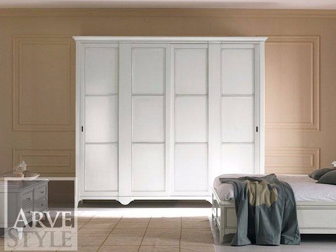 Solid wood wardrobe with sliding doors SALIERI | Lacquered wardrobe by Arvestyle