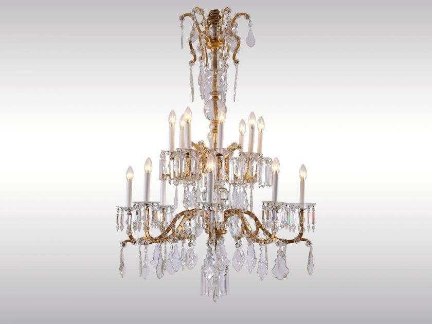 Classic style glass chandelier SALONLUSTER IN KRONENFORM by Woka Lamps Vienna