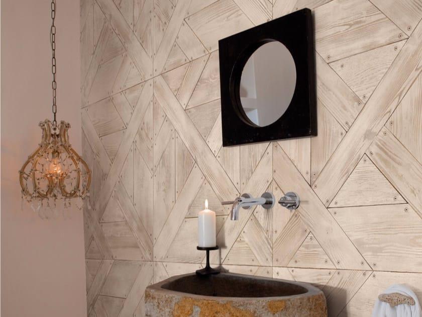 Carta da parati effetto legno panoramica SALOON - Inkiostro Bianco