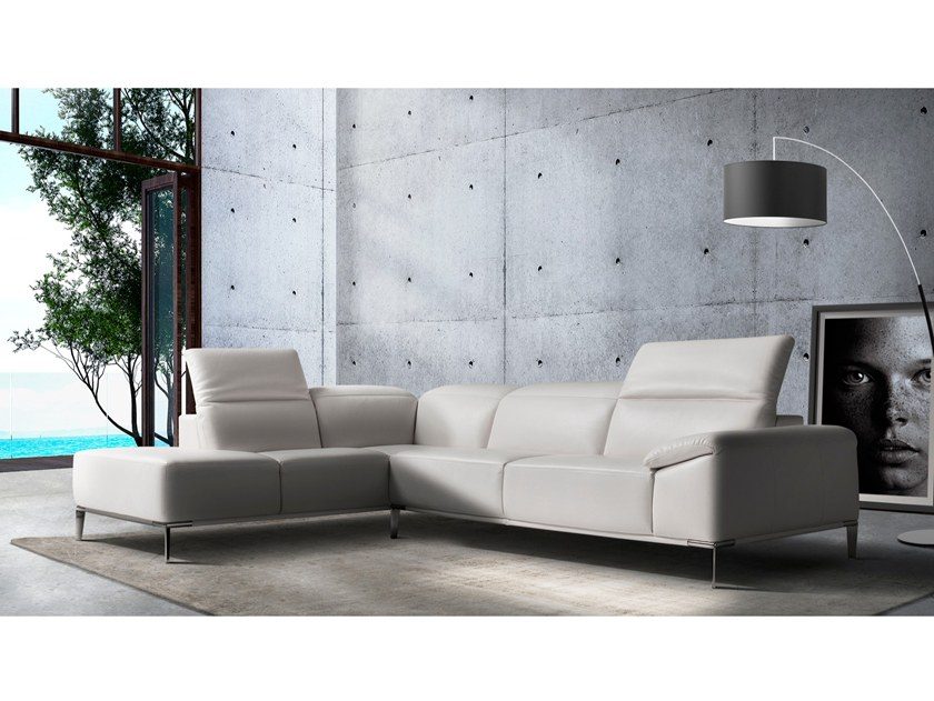 Corner leather sofa with headrest SANZIO by Max Divani