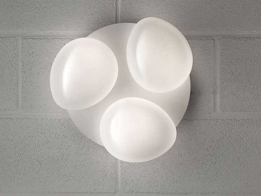 Lampada da parete a luce diretta in vetro laminato SASSO | Lampada da parete by Masiero