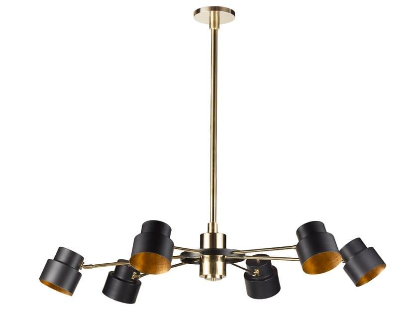 LED brass chandelier SATELLITE 06 by Il Bronzetto