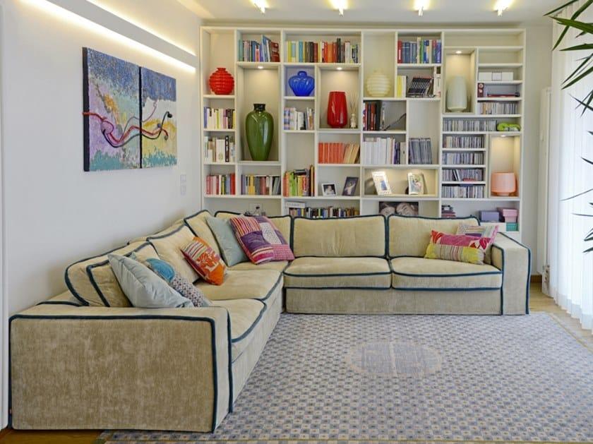 Corner fabric sofa with removable cover SATURNO by Gobbo Salotti