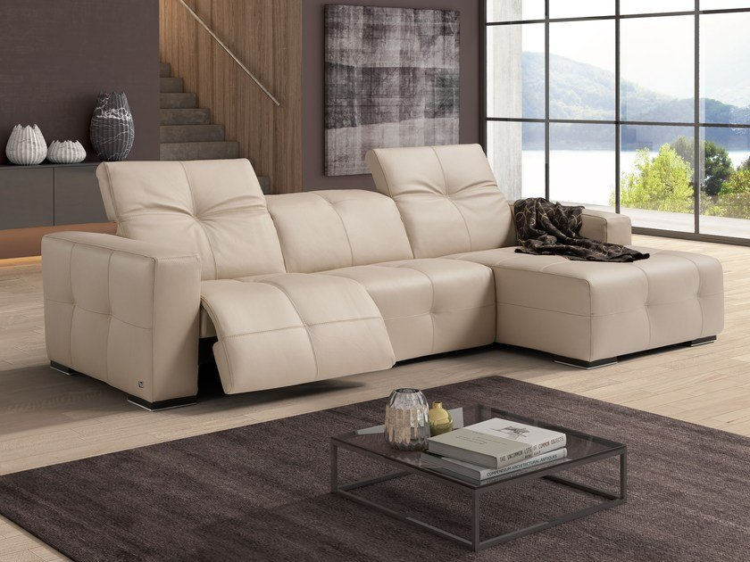 Relaxing 3 Seater Leather Sofa With Electric Motion SAUVANNE | Leather Sofa  By Egoitaliano