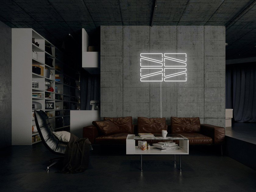 Wall-mounted neon light installation SAW by sygns