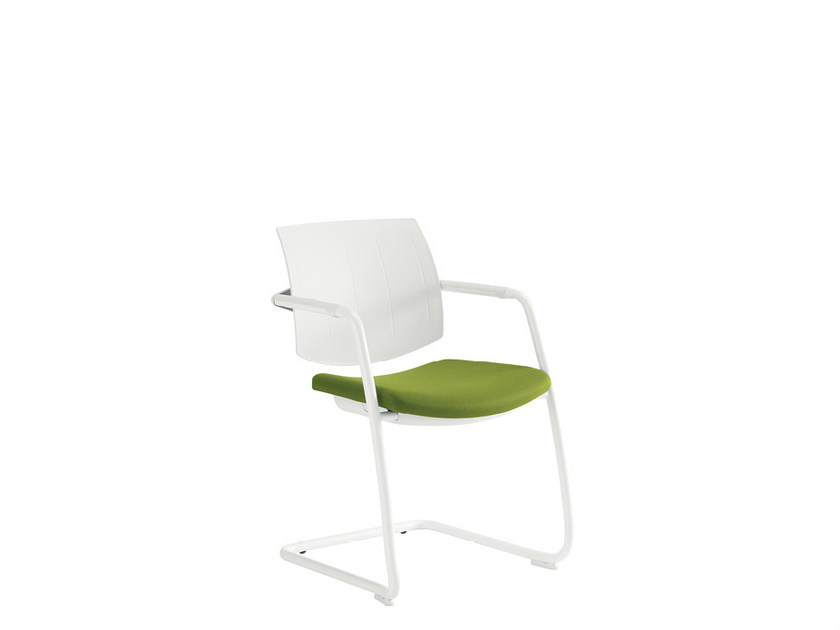 Cantilever chair with armrests SAX RETE WHITE | Cantilever chair by Sesta