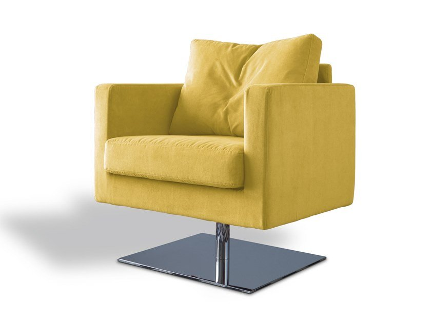 Swivel fabric armchair with armrests SBAIZ | Swivel armchair by Felis