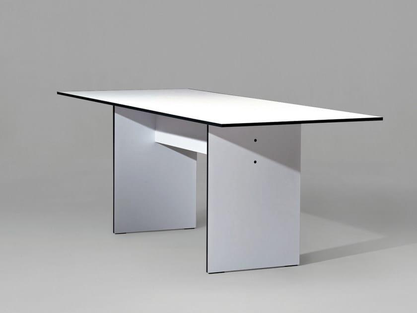 Tavolo da cucina da pranzo rettangolare in derivati del legno in stile moderno SC42   Tavolo in HPL by Janua