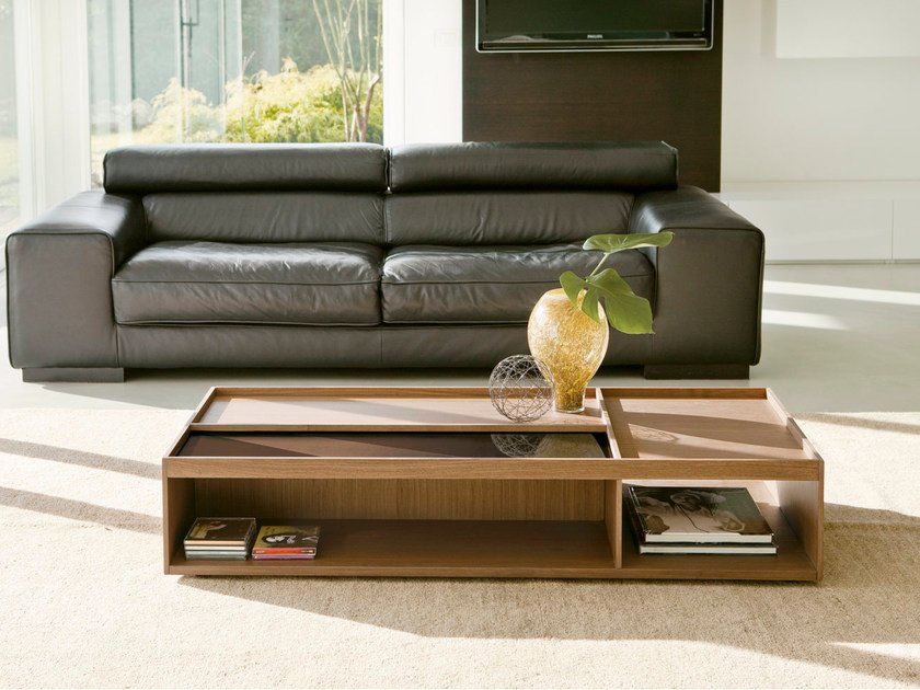 Rectangular coffee table with storage space SCACCO by Pacini & Cappellini