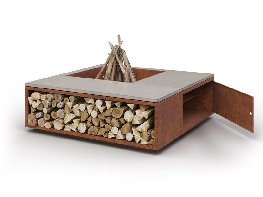 Wood-burning outdoor freestanding fireplace SCALE CUBBI by Laubo
