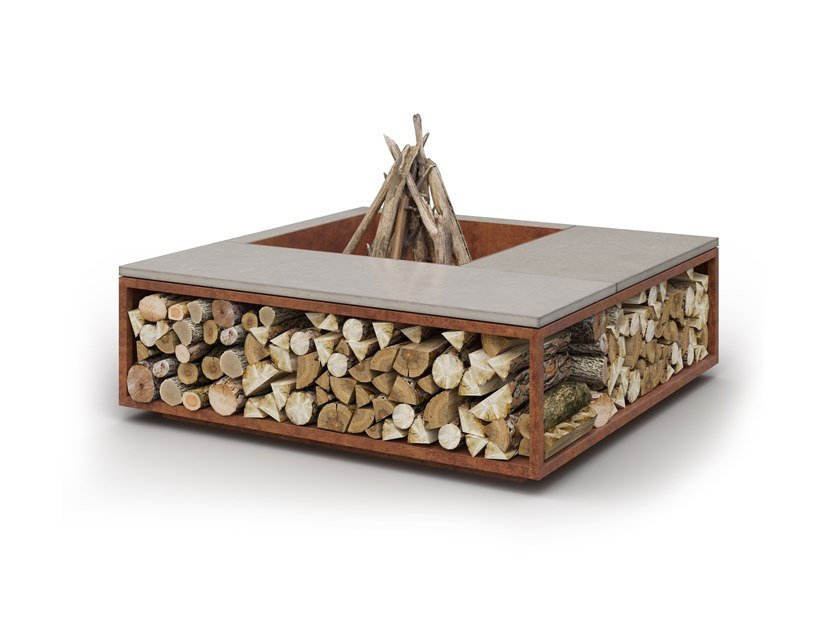 Wood-burning outdoor freestanding fireplace SCALE by Laubo
