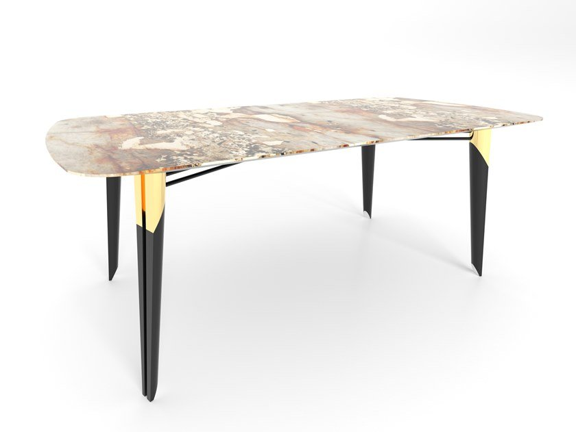 Rectangular granite dining table SCALLABIS by Green Apple