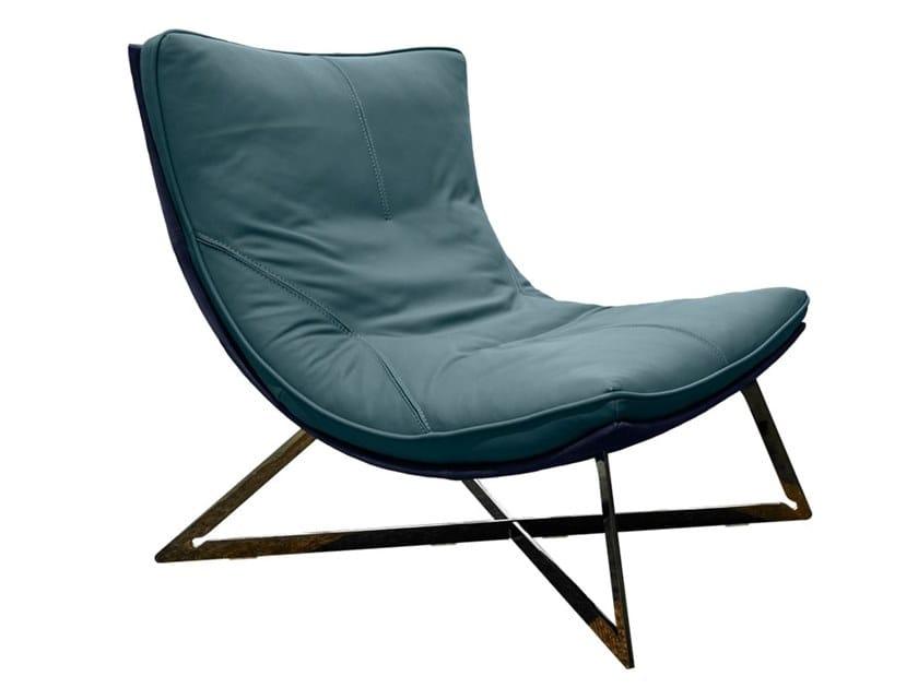 Leather armchair with footstool SCARLETT by Gamma Arredamenti