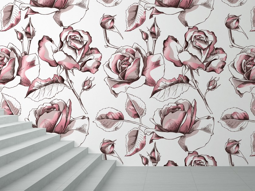 Washable wallpaper with floral pattern SCENT by Baboon